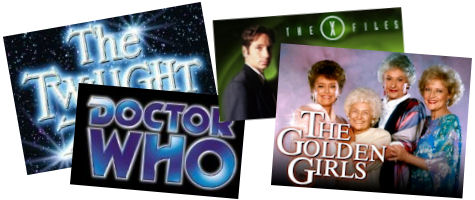 tv show logos; the twighlight zone, doctor who, the x files, golden girls